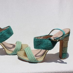 Vince Camuto Turquoise 100% Leather Sandals Sz 8.5